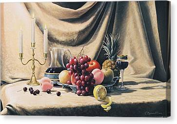 Still Life On A Gold Canvas Print by Oleg Bylgakov