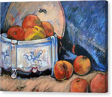 Canvas Print featuring the painting Still Life Peaches by Tom Roderick