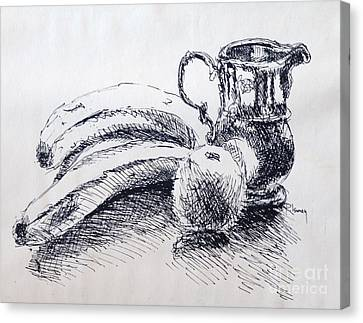 Canvas Print featuring the drawing Still Life by Rod Ismay