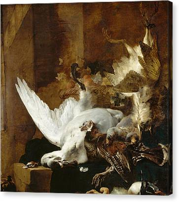 Still Life With A Dead Swan Canvas Print by Jan Weenix