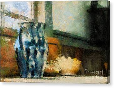 Still Life With Blue Jug Canvas Print by Lois Bryan