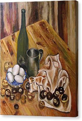 Still Life With Chesnuts And Eggs Canvas Print by Vladimir Kezerashvili