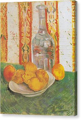Still Life With Decanter And Lemons On A Plate Canvas Print by Vincent Van Gogh