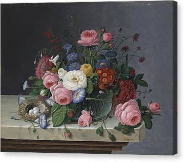 Morning Glories Canvas Print - Still Life With Flowers And Bird's Nest by Severin Roesen
