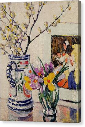 Still Life With Flowers In A Vase   Canvas Print by Rowley Leggett