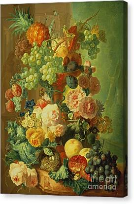 Still Life With Fruit And Flowers Canvas Print by Jan van Os