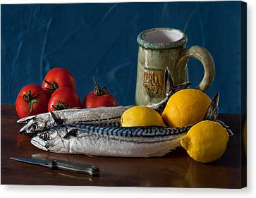 Still Life With Mackerels Lemons And Tomatoes Canvas Print by Juan Carlos Ferro Duque