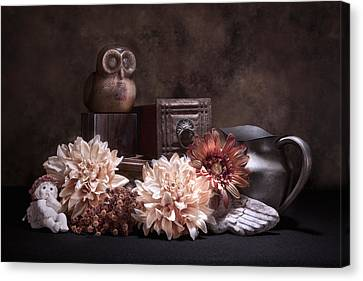 Muted Canvas Print - Still Life With Owl And Cherub by Tom Mc Nemar