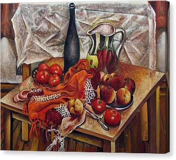 Still Life With Peaches And Tomatoes Canvas Print by Vladimir Kezerashvili