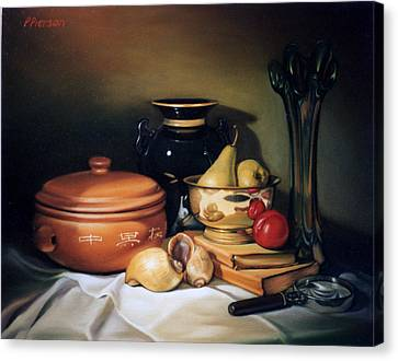 Still Life With Pears Canvas Print by Patrick Anthony Pierson