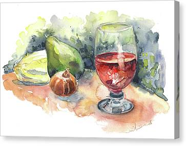 Still Life With Red Wine Glass Canvas Print by Miki De Goodaboom