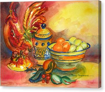 Still Life With Rooster Canvas Print by Nancy Brennand