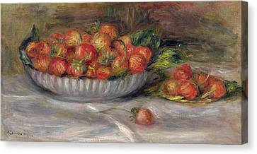 Ceramic Bowl Canvas Print - Still Life With Strawberries by Pierre Auguste Renoir