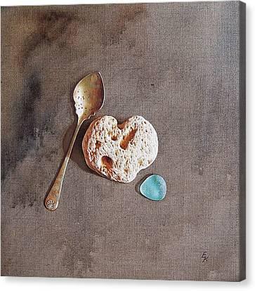 Still Life With Teaspoon And Heart Stone Canvas Print by Elena Kolotusha