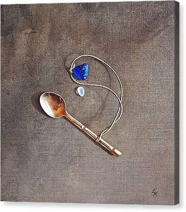 Still Life With Teaspoon And Sea Glass Canvas Print by Elena Kolotusha