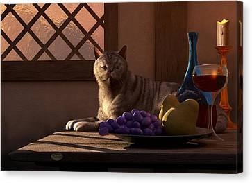 Beaujolais Canvas Print - Still Life With Wine Fruit And Cat  by Daniel Eskridge