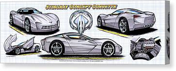 Canvas Print featuring the drawing 2010 Stingray Concept Corvette by K Scott Teeters
