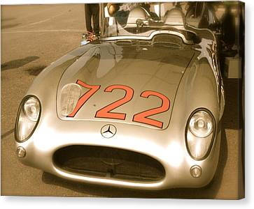 Canvas Print featuring the photograph Stirling Moss 1955 Mille Miglia 722 Mercedes by John Colley