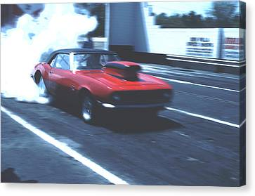 Canvas Print featuring the photograph Stock Car Burning Rubber by Tom Wurl