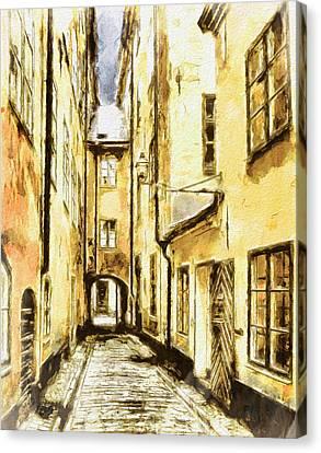 Urban Nature Study Canvas Print - Stockholm Old City by Yury Malkov