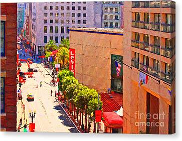 Stockton Street San Francisco Towards Union Square Canvas Print by Wingsdomain Art and Photography