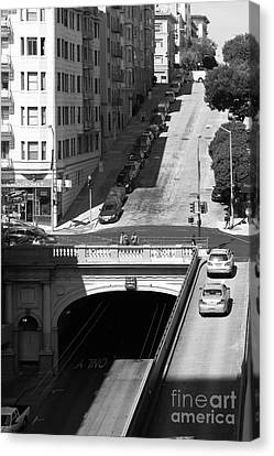Stockton Street Tunnel Midday Late Summer In San Francisco . Black And White Photograph 7d7499 Canvas Print by Wingsdomain Art and Photography