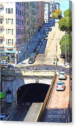 Stockton Street Tunnel Midday Late Summer In San Francisco Canvas Print by Wingsdomain Art and Photography