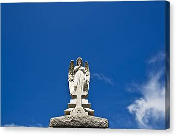 Stone Angel And Blue Sky II Canvas Print by Ray Laskowitz