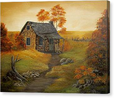 Stone Cabin Canvas Print by Kathy Sheeran