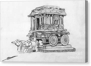 Stone Chariot Hampi Vijayanagar Empire Canvas Print by Shashi Kumar