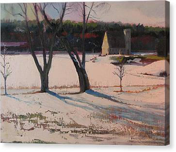 Stone Church  In Winter Canvas Print by Sid Solomon
