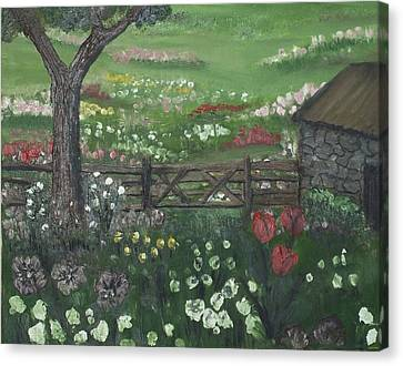 Canvas Print featuring the painting Stone Cottage by Angela Stout