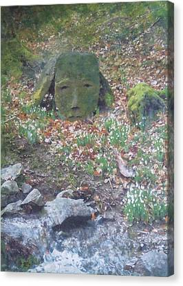 Canvas Print featuring the painting Stoneface Looking At Me by Richard James Digance