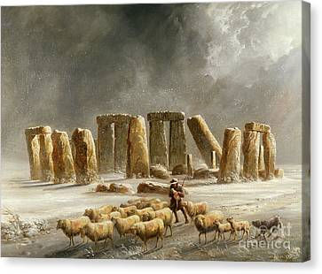 Stonehenge In Winter  Canvas Print by Walter Williams
