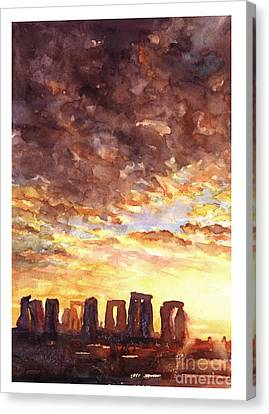 Stonehenge Sunrise Canvas Print by Ryan Fox