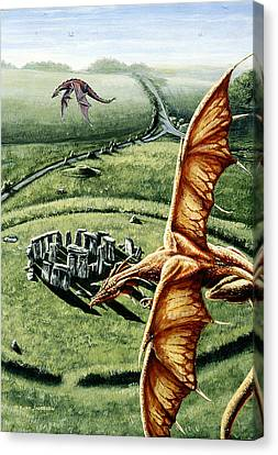 Canvas Print featuring the painting Stonehenges Call by Kurt Jacobson