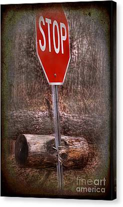 Stop Sign Canvas Print - Stop Firewood Transport by The Stone Age