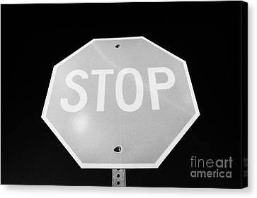 Stop Sign Against Blue Sky In North Dakota Usa United States Of America Canvas Print