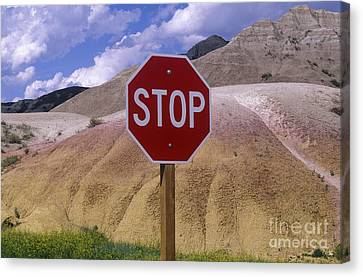 Stop Sign In South Dakota Badlands Canvas Print by Will & Deni McIntyre