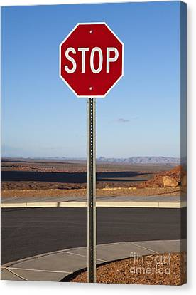 Stop Sign In The Desert Canvas Print