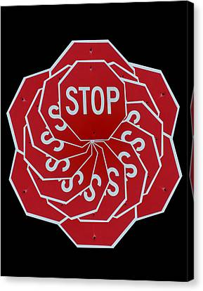 Stop Sign Kalidescope Canvas Print by Denise Keegan Frawley
