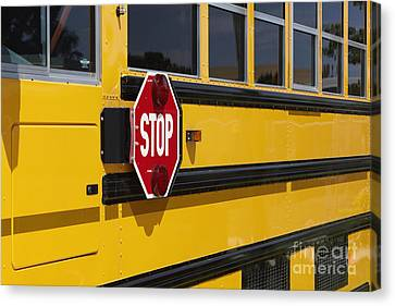 Stop Sign On A School Bus Canvas Print by Skip Nall