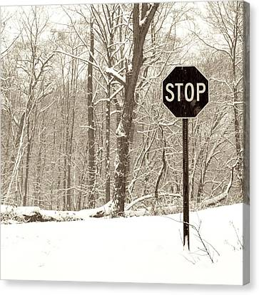 Stop Snowing Canvas Print by John Stephens