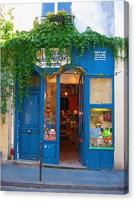 Store Fronts Canvas Print - Storefront In Paris France by Michael Meinberg