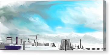 Storm Approachs Strange City Canvas Print by David Lane