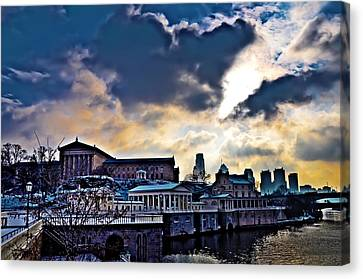 Storm Clouds Over Philadelphia Canvas Print by Bill Cannon
