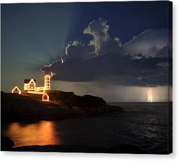Storm Energizes The Lightning And The Lighthouse Canvas Print