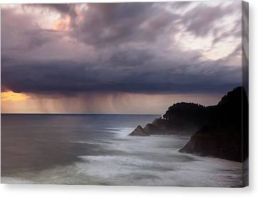 Silk Water Canvas Print - Storm Over Heceta Head  by Keith Kapple
