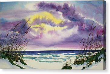 Canvas Print featuring the painting Storm Warning by Richard Willows