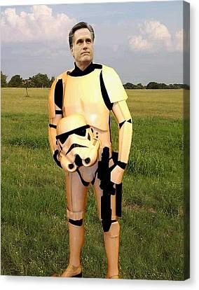 Stormtrooper Mitt Romney Canvas Print by Paul Van Scott